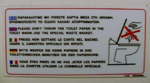 no paper in toilets