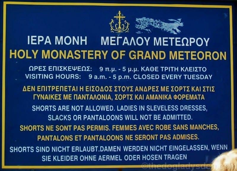 Entry sign, Grand Meteoran Monastery, Meteora