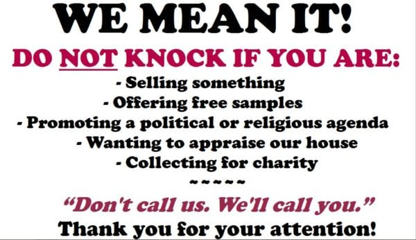 NO SOLICITING! window sign