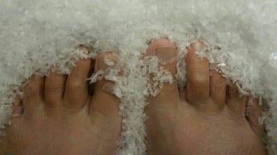 bare feet in snow   Gratitude